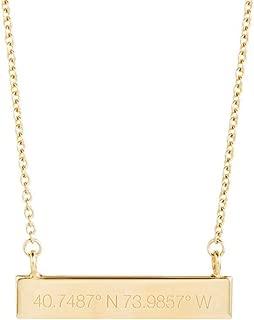 Custom Coordinate Necklace Engraved Longitude Latitude Bar Necklace (16