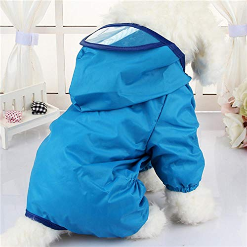Xinger Hooded hond regenjassen waterdichte kleding voor kleine honden Chihuahua Pug kleding hond regenjas Poncho Puppy regenjas, blauw, XL