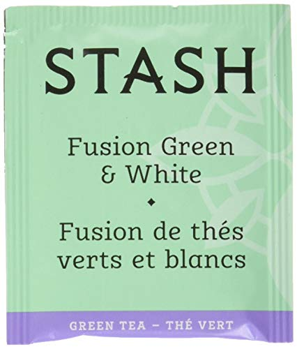 Stash Tea Fusion Green & White Tea 100 Count Tea Bags in Foil (Packaging May Vary) Individual Tea Bags for Use in Teapots Mugs or Cups, White Tea and Green Tea, Brew Hot or Iced