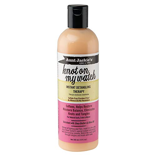 Aunt Jackie's Knot On My Watch, Instant Leave-in Detangling Therapy Enriched with Shea Butter and Olive Oil, 12 Fl Oz