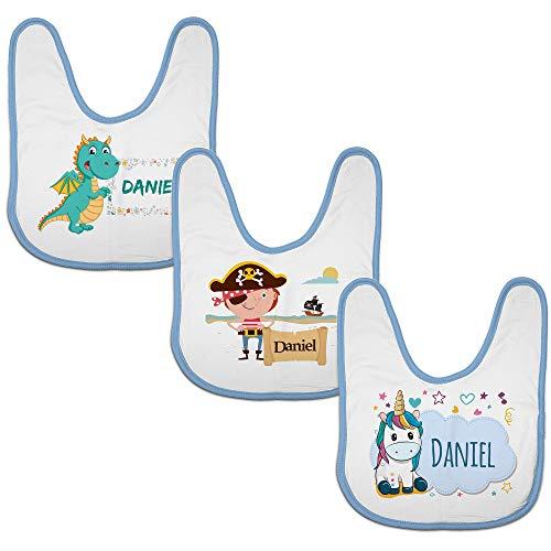 LolaPix Pack Bebe. 3 Baberos Bebé Personalizados Nombre/Texto. Regalos Recién Nacido. Varios Diseños a Elegir. Piratas-Dragón-Unicornio. Babero Azul