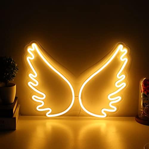 Ladieshow LED Neon Light, USB Neon Light Innovador Angel Wing Lámpara de Noche Bar Tienda Club Pub Decoración