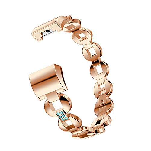 XIALEY Women Metal Band Compatible with Fitbit Charge 2, Girls Stainless Steel Replacement Strap Bling Chain Rhinestone Bracelet Sport Wristband Accessories for Charge 2 Fitness Tracker,Rose Gold 2