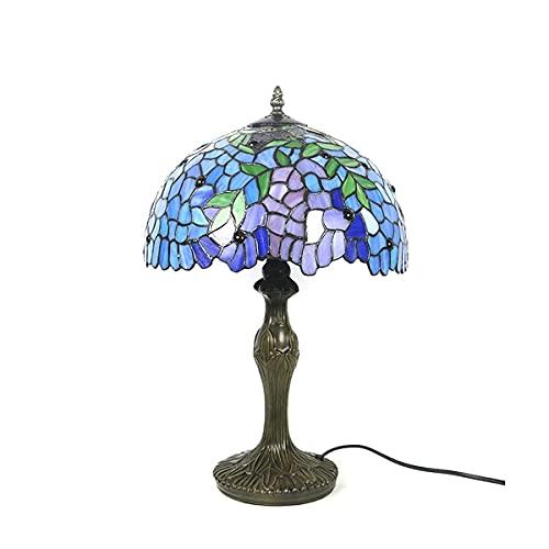 GXXDM Lámpara de Mesa Tiy de 18 Pulgadas, iluminación Retro, Moderna con Pantalla de Vidrio de glicina Pintada en Azul, protección para los Ojos con luz de Escritorio para el Estudio del