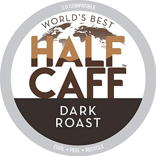 World's Best Half Caff Dark Roast Coffee 100ct. Recyclable Single Serve Dark Roast Coffee Pods - 100% Arabica Coffee California Roasted, Keurig Dark Roast K Cups Compatible Including 2.0