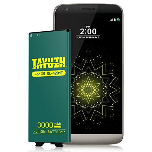 LG G5 Battery, Upgraded TAYUZH 3000mAh Replacement BL-42D1F Li-ion Battery for LG G5 VS987 Verizon, H820 AT&T, H830 T-Mobile, LS992 Sprint, US992, H845 Dual H850 H858 Spare Battery