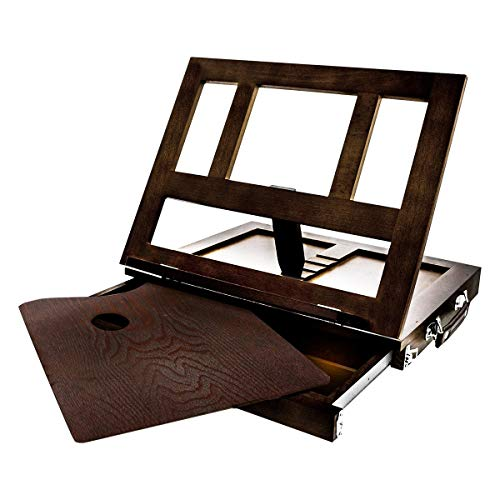 KINGART Wood Tabletop Easel with Drawer, One Size, Espresso