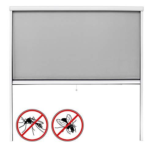ECD Germany Fliegengitter Insektenschutzrollo für Fenster - Weiß - Witterungsbeständig - 160 x 160 cm - Fiberglas Fliegengitternetz - Insektenschutz Insektenschutztür Fliegengitter