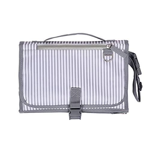 DYKJK Portátil Pañal de bebé Pañal Impermeable Pañal portátil Impermeable Mat de Cambio Pañal Pañal Pañal Cochecito de bebé Mat para el hogar y los Viajes (Color : Grey Stripe)