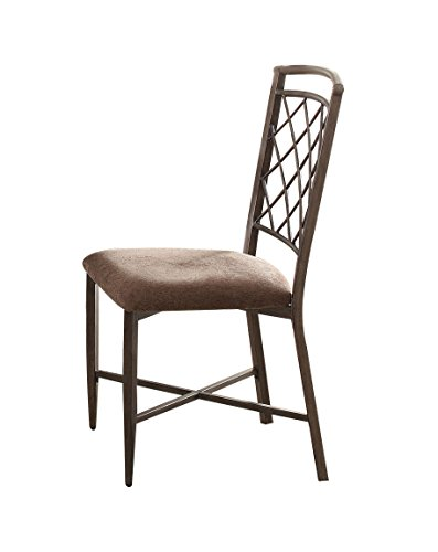 ACME Aldric Side Chair (Set-2) - - Fabric & Antique
