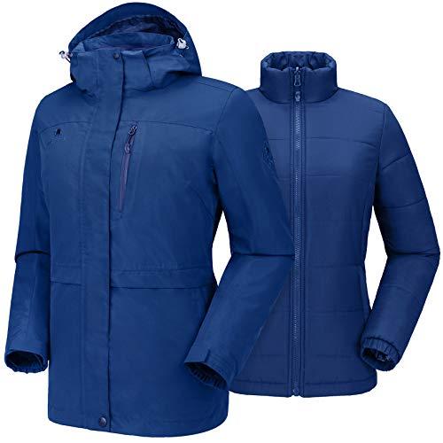 CAMEL CROWN Damen Outdoorjacke Wasserdicht 3-in-1 Skijacke mit Baumwolljacke, Winddicht Warm Damenjacke mit Kapuze Regenjacke Windbreaker Funktionsjacke Freizeitjacke