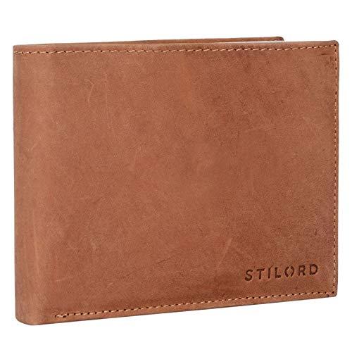 STILORD 'Chester' Vintage Leder Geldbörse mit EC-Karten Schutz Herren Portemonnaie Brieftasche elegant Retro Rindsleder, Farbe:Antero - braun