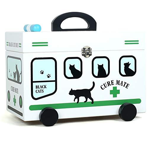 QXTT Medizinkoffer Erste Hilfe Koffer Medizin-Box Aufbewahrungsbox Medikamentenbox Arzneimittel-Box Medizinbehälter Mit Tragegriff Tragegurt,Green