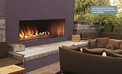 """Empire Comfort Systems 48"""" Stainless Steel Outdoor Linear Fireplace 55K Btu Electronic Ignition LED Lighting in Bed"""