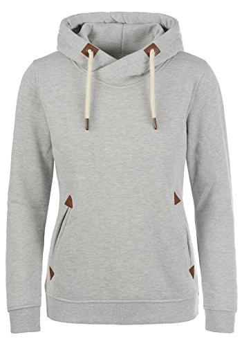 DESIRES VickyHood Damen Damen Hoodie Kapuzenpullover Pullover Mit Kapuze Cross-Over-Kragen Und Fleece-Innenseite, Größe:M, Farbe:Light Grey Melange (8242)