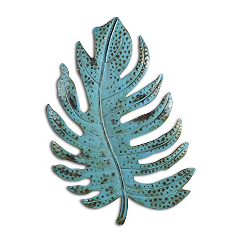 Galapara Decoracion de Pared, Blue Leaf Wall Art Iron Leaf Decoración de Pared de Metal de Hierro Decoración de Pared de Arte para el hogar Adorno Colgante de Pared