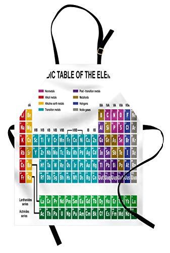 ABAKUHAUS Tabla Periódica Delantal de Cocina, Arte Educativo para el Aula Laboratorio de Ciencia Química Club Actividades, Apto para Uso en Interiores y Exteriores Resiste la Suciedad, Multicolor