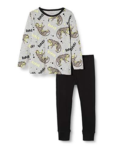 NAME IT Jungen Nmmnightset Mel AOP Glow Noos Zweiteiliger Schlafanzug, Mehrfarbig (Grey Melange Grey Melange), (Herstellergröße:104)