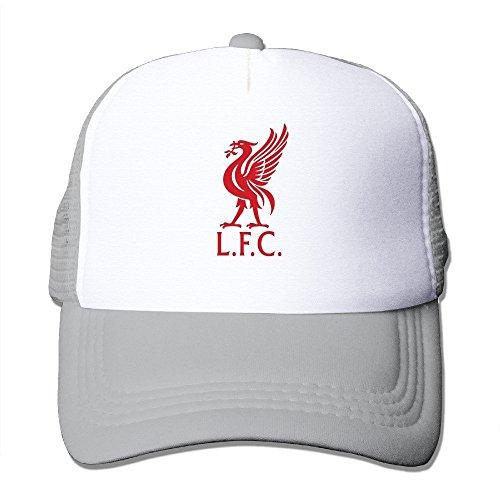 Fashion UEFA Champions League Liverpool Fc Emblem Adult Nylon Adjustable Mesh Hat Snapback Hip Hop Hat Ash One Size Fits Most