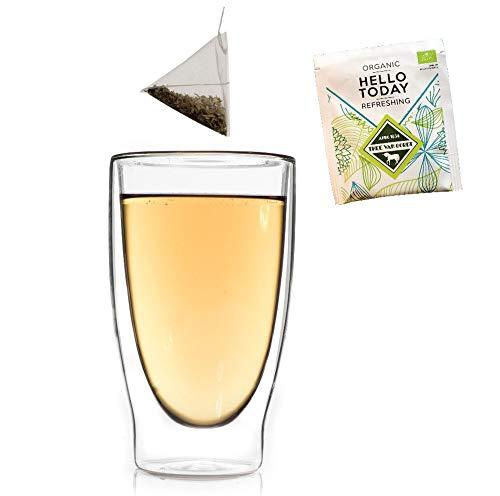 DUOS Bio-Set: 400ml Doppelwandglas + Bio-Tee, Thermoglas Teeglas mit Schwebe-Effekt + 1x Biotee Hello Today, auch für Latte Macchiato, Cappuchino, Tee, Eistee, Longdrinks geeignet, by Feelino
