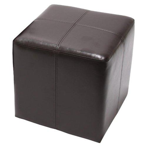 Mendler Sitzwürfel Hocker Sitzhocker Onex, Leder + Kunstleder, 36x36x36cm ~ braun