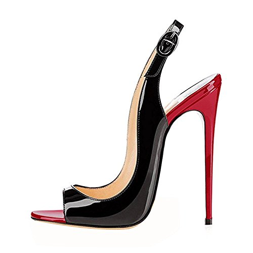 ELASHE - Zapatos de tacón - 12 CM Sandalias de Vestir - Tira de Tobillo Sandalias Negras a Rojas EU35 (Ropa)