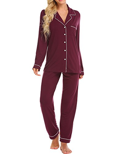Ekouaer Pajamas Women's Long Sleeve Sleepwear Soft Pj Set,Wine Red,Medium