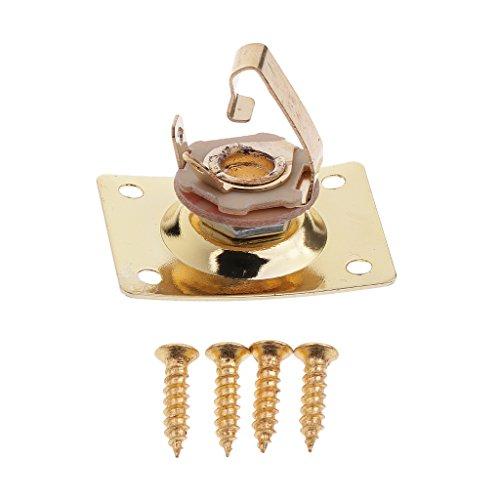 Sharplace 1 Pieza de Enchufe de Placa de Conector Rectangular de Guitarra de Metal para Instrumento de Accesorios de Bajo de Guitarra Eléctrica - Dorado