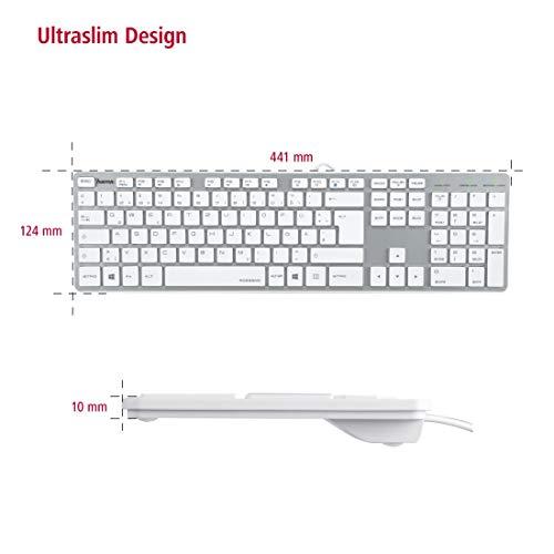 Hama PC Tastatur, kabelgebunden (USB, geräuscharm, Deutsches-Layout QWERTZ) Wired Keyboard, weiß Silber & Mauspad (22 x 18 cm, Office Mousepad in Lederoptik, Optimale Gleitfähigkeit) weiß