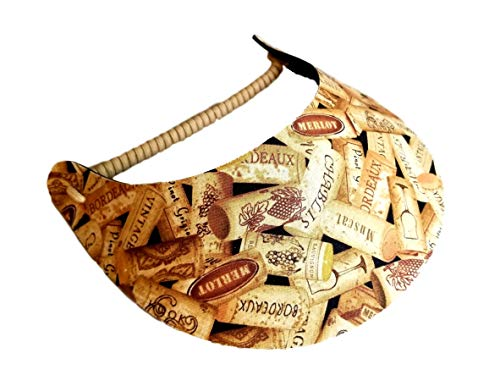 The Incredible Sunvisor Assorted Novelty Patterns Perfect for Summer! Made in The USA!! (Wine Corks (NOV 5D))