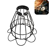 金属電球ガードランプケージ、ペット暖房用ランプシェード爬虫類ヒートランプスタンドプ式スチールランプケージ 吊り下げペンダントライトとヴィンテージランプホルダー用 オープンスタイル ブラック 工業用ワイヤー 鉄製バードケージ