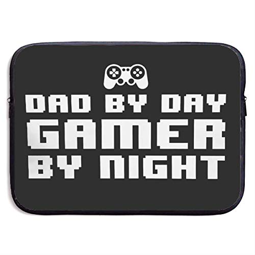 Hdadwy Dad by Day Gamer by Night Laptop Sleeve Bag Notebook Computer, Water Repellent Polyester Protective Case Cover Theme Design Laptop 15 inch