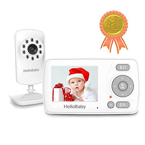 Monitor de Vídeo para Bebé con Cámara y Audio, Monitor de dos vías de Comunicación de HelloBaby, Visión Nocturna Infrarroja, Alarma de Alimentación con Visualización de Temperatura y Modo VOX