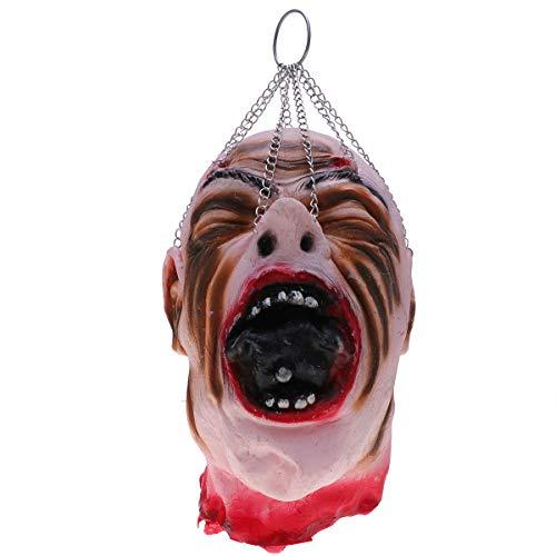Abaodam Colgante de cabeza sangrienta de simulación, decoración de Halloween, adorno de látex para fiestas