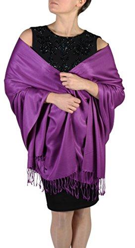 York Shawls York Shawls Pashmina Schal Tuch für Frauen - Quastenveredelung - Kostenloser Aufhänger (Über 20 Farben) Handgefertigt (Lila)