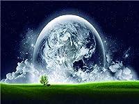 QMGLBG 5Dダイヤモンド塗装 草原と地球の風景ダイヤモンド塗装クリスタル大人の工芸品壁の装飾アートギフト30*40cm