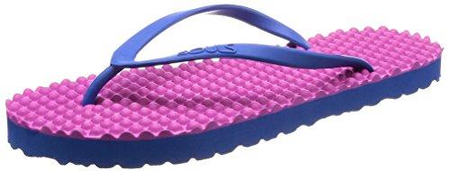 SOULS Zehentrenner Unisex Australian Thongs Original Massage Noppen Sohle 'Pink Lilly 1028' Lifestyle Sandale Wellness Massage Badeschuhe Badelatschen Strandschuhe für Damen, Größe:40/41 EU