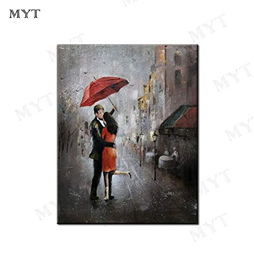 Mannen en vrouwen houden paraplu's om te knuffelen meisje handbeschilderd minnaar abstracte moderne muur oliefoto op Canvas Home Decor50x70cm (20x28Inch)