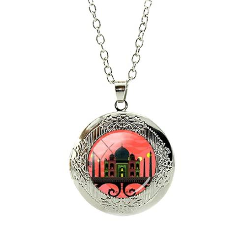 Taj Mahal bajo el sol ponente collar 2017 nuevo medallón seleccionado como una de las siete maravillas del mundo joyas