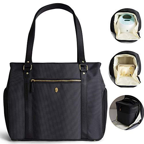 "Breast Pump Bag w/Cooler Pocket - Idaho Jones - Ellerby | Pumping Tote Fits All - 15"" Laptop, All Pumps inc. Spectra and Medela and Parts, All Essentials | Comfy Handles & Cross Body Strap | Black"
