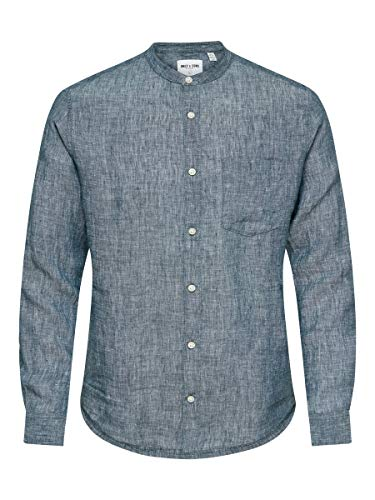ONLY & SONS Male Hemd Linen XSDress Blues