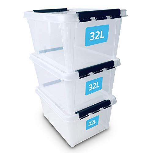 SmartStore Contenitori di plastica rinforzata e trasparenti con coperchio a clip, confezione da 3 da 32L, adatte per alimenti, impilabili, senza BPA, garanzia di 10 anni, 50 x 39 x 26 cm