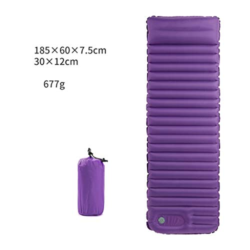 WSI Tapis de Couchage Gonflable avec Oreiller, Coussin   Ultraléger   Résistant à l'Humidité   Camping Randonée Voyage et Sacs de Couchage, Plage, Tente, 185 * 60 * 7.7CM Purple