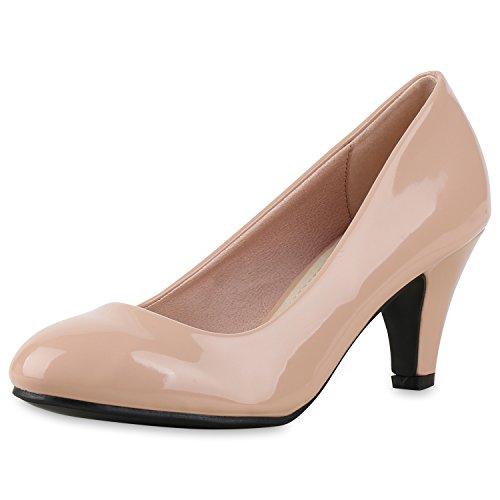 SCARPE VITA Klassische Damen Pumps Basic Leder-Optik Schuhe Stiletto Mid Heels 165377 Rosa Lack 37
