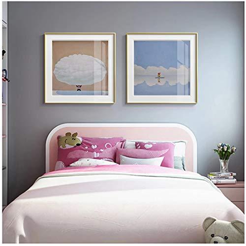un known Cuadros Decoracion Salon Nube Moderna Lienzo Animal Pintura nórdica Familia niños habitación Cartel decoración 31.5x31.5in (80x80cm) x2pcs sin Marco