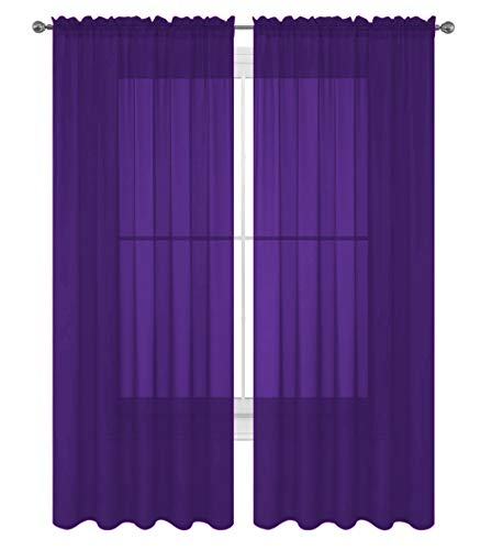 "Luxury Discounts 2 Piece Solid Elegant Sheer Curtains Fully Stitched Panels Window Treatment Drape (54"" X 108"", Purple)"