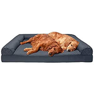 Furhaven Pet Dog Bed – Orthopedic Quilted Traditional Sofa-Style Living Room Couch Pet Bed with Removable Cover for Dogs and Cats, Iron Gray, Jumbo Plus