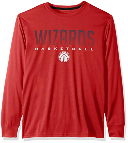 Ultra Game NBA Washington Wizards Mens Active Long Sleeve Tee Shirt, Team Color, Large