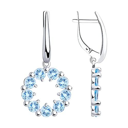 Mirkada - Pendientes de plata para mujer, con circonitas, color azul