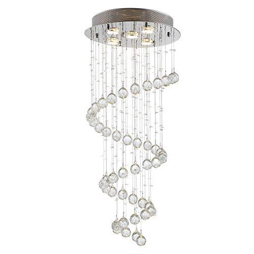 HOMCOM Lámpara de Techo de Cristal Lámpara de Araña Colgante Gota de Lluvia Porta lámpara GU10 de 25W para Hotel Pasillo Sala de Estar Ф40x90 cm Plata